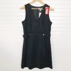 H&M Black Faux Suede Sleeveless V Neck Dress 10